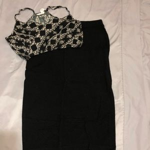 Long pencil skirt with a crop top to match